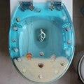 48*38CM High-grade beautiful Light blue really dry flower shells Resin toilet seat cover
