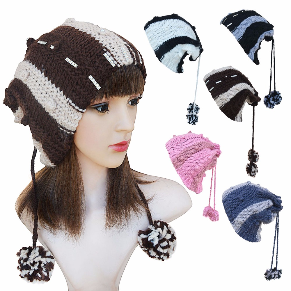 A237 New Style Women Beanies Hat Fashion Scarf Dual Skullies Wool Striped Winter Warmth Hats Ear With Hair Ball skullies 2017 new arrival hedging hat female autumn and winter days wool cap influx of men and women scarf scarf hat 1866729
