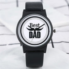 2019 Men Watch Quartz Analog Best Dad Literal Dial Watch Black PU Leather Strap Meaningful Gift Father's Day montre homme цена 2017