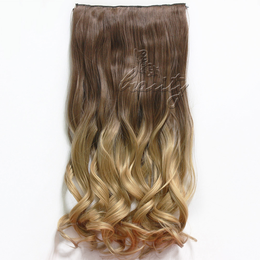 5 Clips 24 Inch Curly Hair Clip In Dip Dye Synthetic Hair Extensions