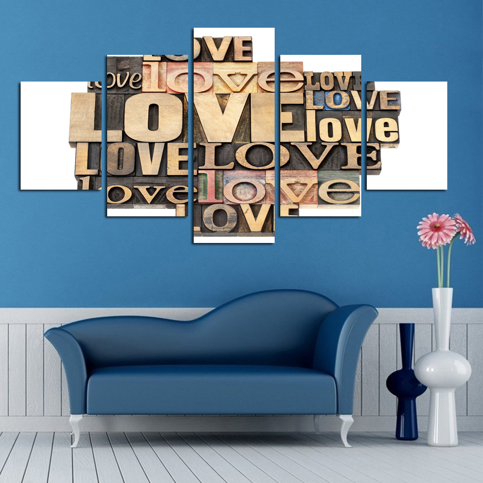 Unframed Print The Letter Love Warm Canvas Is The Bedroom
