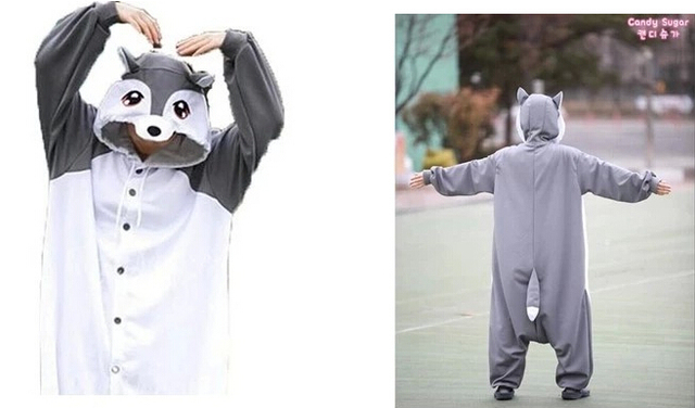 New Adult Animal Grey Fox Cosplay Pajamas Onesie Sleepwear Costume 02 & New Adult Animal Grey Fox Cosplay Pajamas Onesie Sleepwear Costume ...