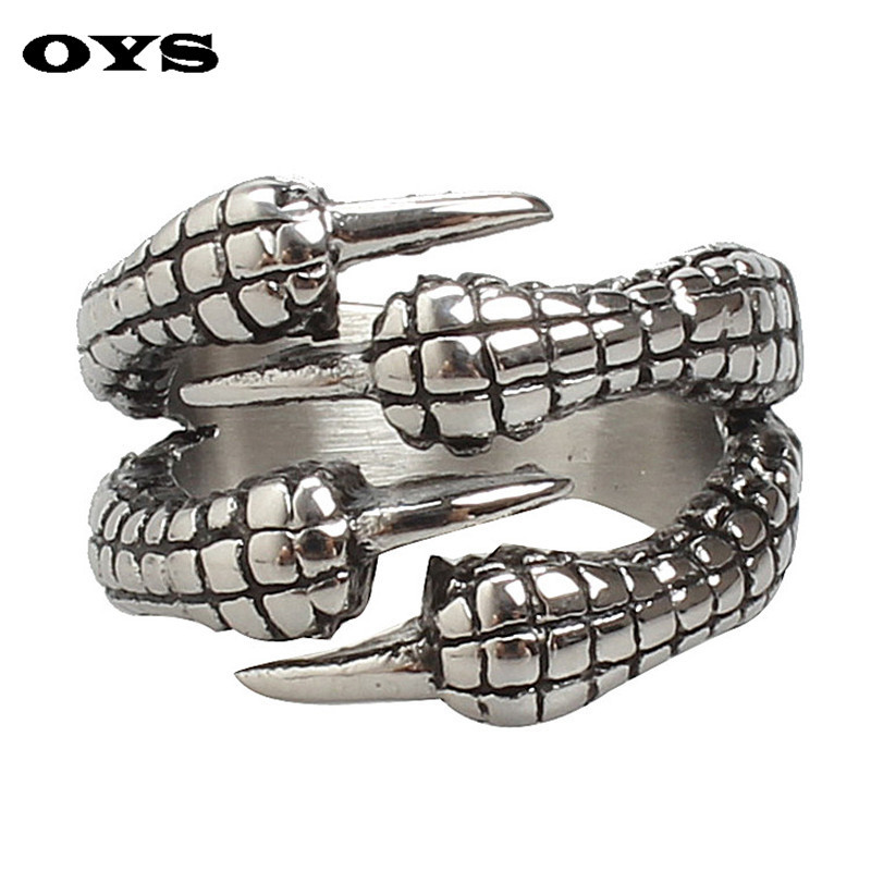 Men's Sharp Eagle Claw Gothic Titanium Stainless Steel Gothic Punk Biker Finger Ring Size 7-12