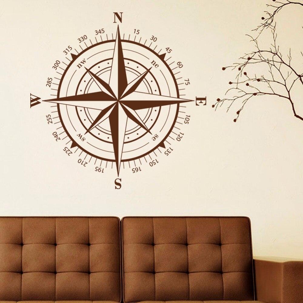 Compass Wall Decal Compass Rose Nautical Decal Beach Theme ...