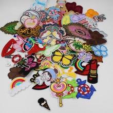 Lote de 10/20 unids/lote de parches variados al azar, parches de hierro para coser, parches de dibujos animados Bonitos bordados apliques, parches para parche para ropa, pegatinas