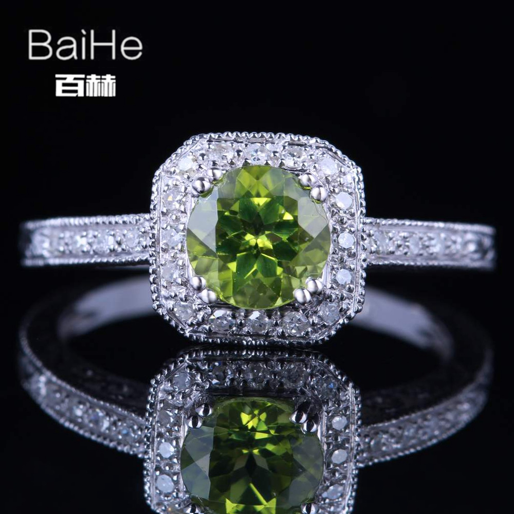 BAIHE solide 10 K or blanc (AU417) environ 0.84ct vert rond coupe impeccable 100% véritable péridot mariage à la mode cadeau anneau