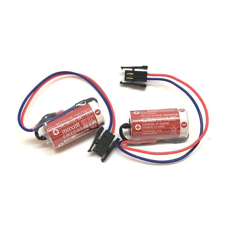 10 pçs/lote NOVO Maxell ER17/33 ER 17/33 3.6V 1600mah bateria de lítio PLC controle industrial baterias com plug preto