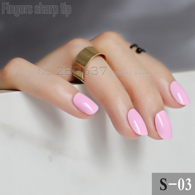 24 pcs Simple lovely solid color Fake Nails Shiny Surface False ...