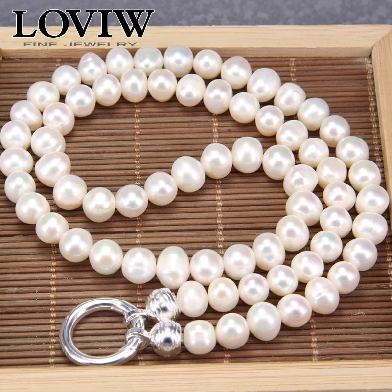 Natural Pearl Baroque Freshwater Pearl Necklace With silver Clasp New Fit Pendants Sabor Jewelry Pearls fine jewelery For WomenNatural Pearl Baroque Freshwater Pearl Necklace With silver Clasp New Fit Pendants Sabor Jewelry Pearls fine jewelery For Women