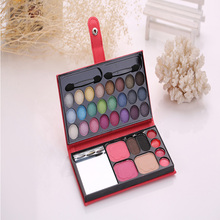 Eyeshadow tray 33 color leather bag cosmetic case eyebrow powder blush lipstick flash eye shadow palette shiny makeup set