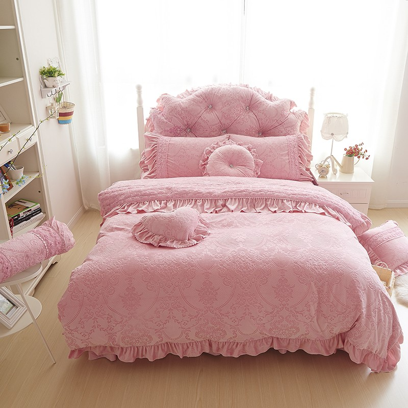 Thick Warm Velvet Duvet Cover Set King Queen 4/6pcd Pink Princess Bedspreads Bed Sheet Lace Flower Bedding Sets Home Textile