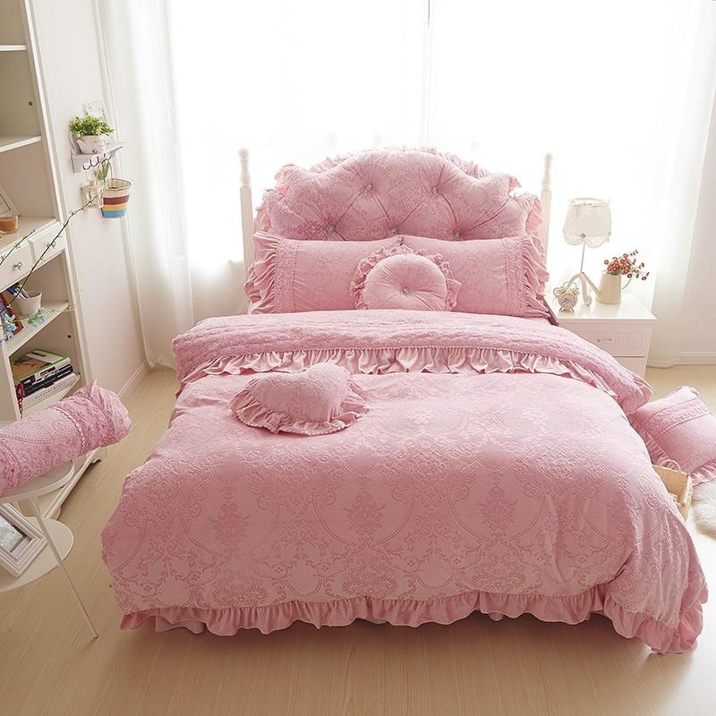 Thick Warm Velvet Duvet Cover Set King Queen 4 6pcd Pink