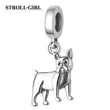 Strollgirl Hot Sale 925 sterling silver Human friend dog Charms Animal Pendant bead Fit Pandora Bracelet for Women DIY Jewelry