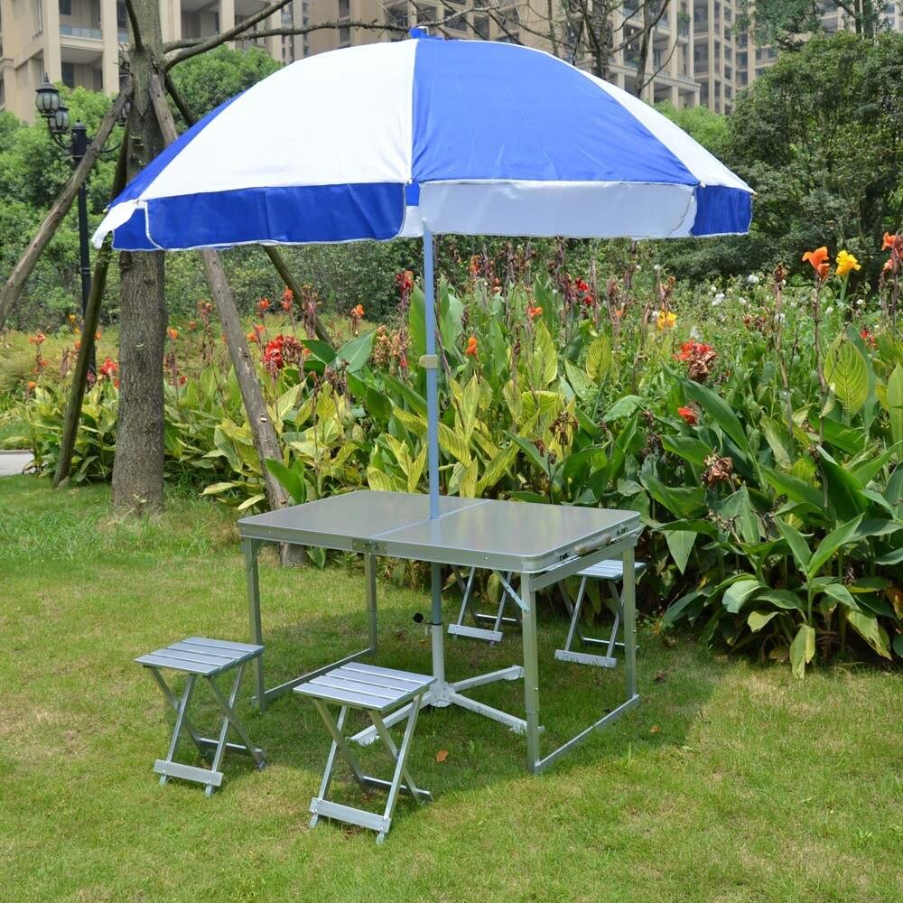 CAMPING Portable en plein air chaises pliantes en aluminium pique-nique tables et chaises ensemble - 3