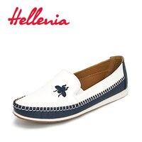 Hellenia נשים דירות גודל 36-41 2017 אביב סתיו נעלי בנות שטוח טו מעוגל שרוכי נעליים מזדמנים נשים עור PU