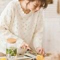 Suéter de las mujeres femeninas de invierno otoño nueva marea Japonés Sen línea femenina flor del gancho hueco suéter de la capa