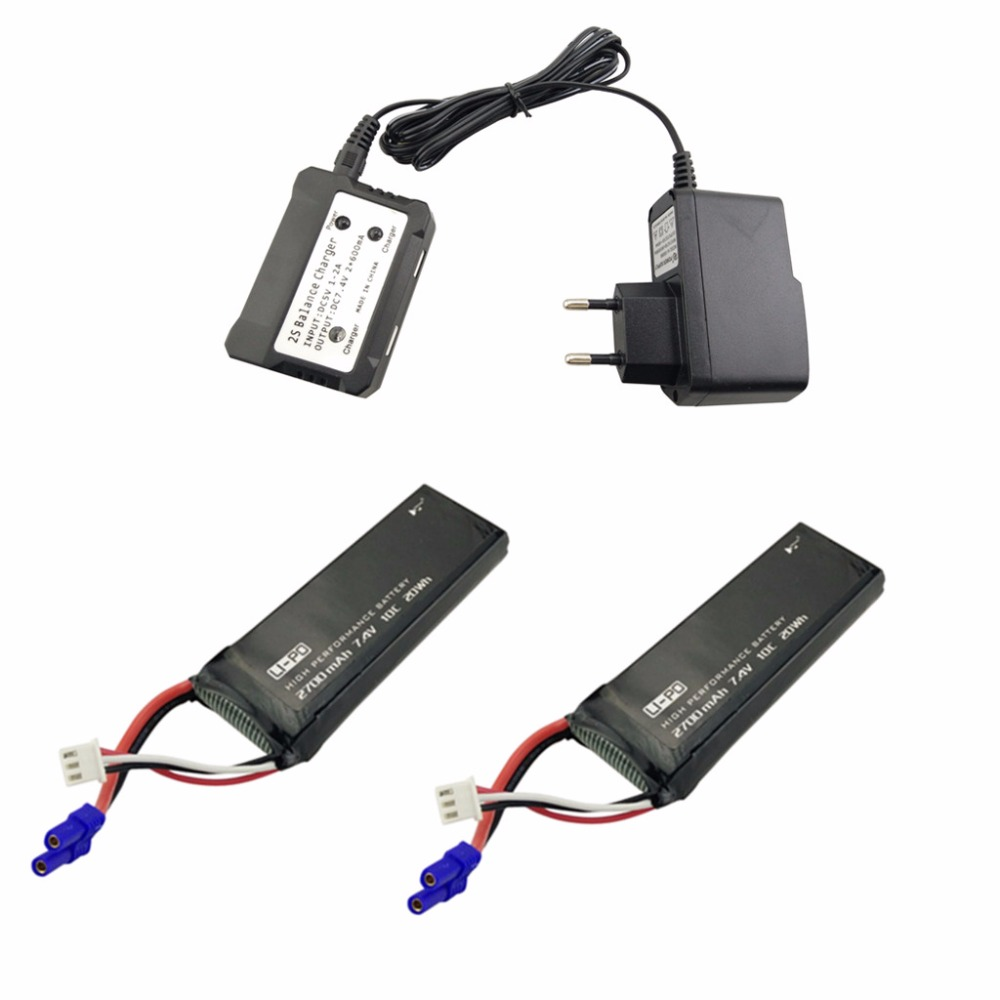 2PCS 7.4V 2700mAh Model Battery with 2 in 1 Euro Charger for Hubsan X4 H501S H501C H501A H501C H501M H501S W H501S pro 7 4v 2700mah 10c battery 1 in 3 cable usb charger set for hubsan h501s h501c x4 rc quadcopter