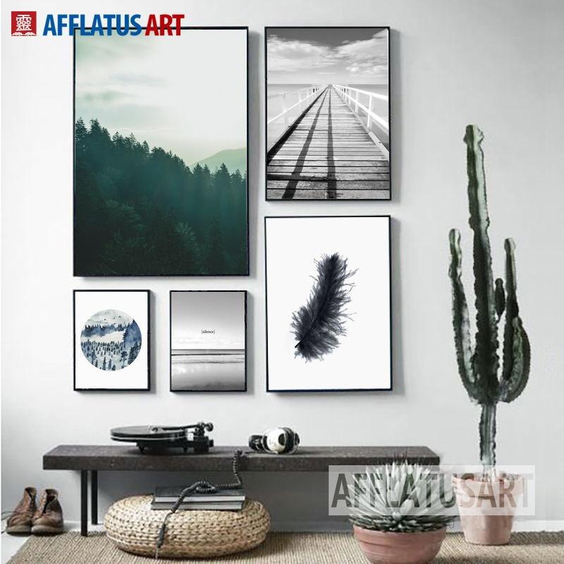 Zelený les Černý bílý peří oceán Nástěnné umění Obraz na plátně Skandinávské plakáty a tisky Nástěnné obrázky pro výzdobu obývacího pokoje