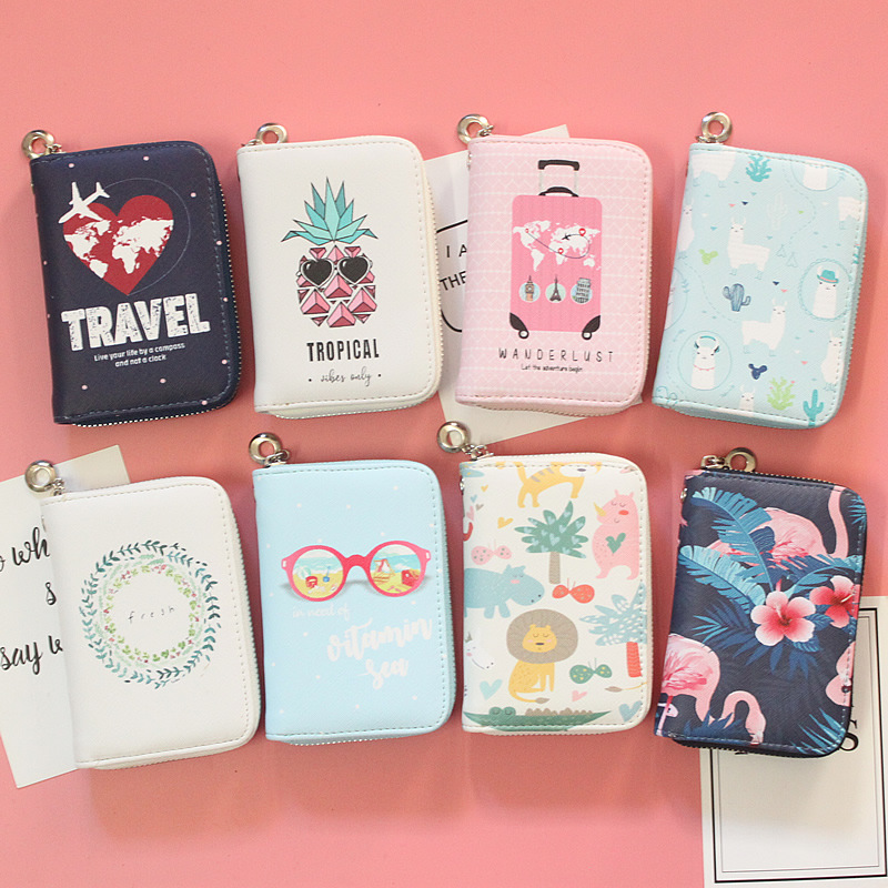2019 New Women's Fashion Prints Short Wallets Coin Purse Large Capacity Clutch Phone Bag PU Leather Ladies Card Holder Wallets