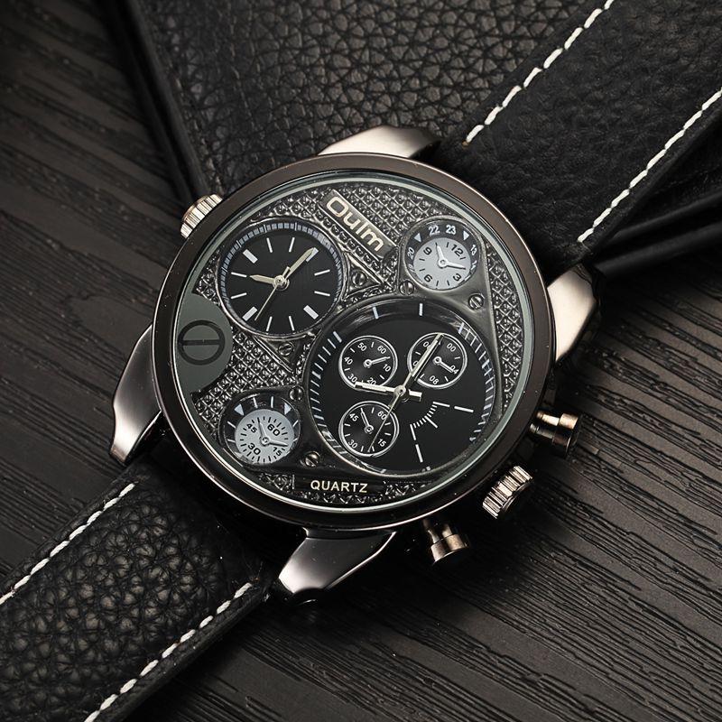 Prix pour Oulm Montres Mâle Quartz-Montre Casual Bracelet En Cuir Montre-Bracelet Militaire Hommes Montres Top Marque De Luxe relojes hombre