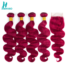 HairUGo Peruvian Hair Bundles With Closure Body Wave Ombre Human Non Remy