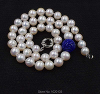freshwater pearl white near round and lapis lazuli carved round nature beads necklace wholesale 18nch FPPJ wholesalegift
