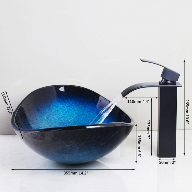 JIENI Tempered Glass Hand Painted Waterfall Spout Basin Black Tap Bathroom Sink Washbasin Bath Brass Set Faucet Mixer Taps