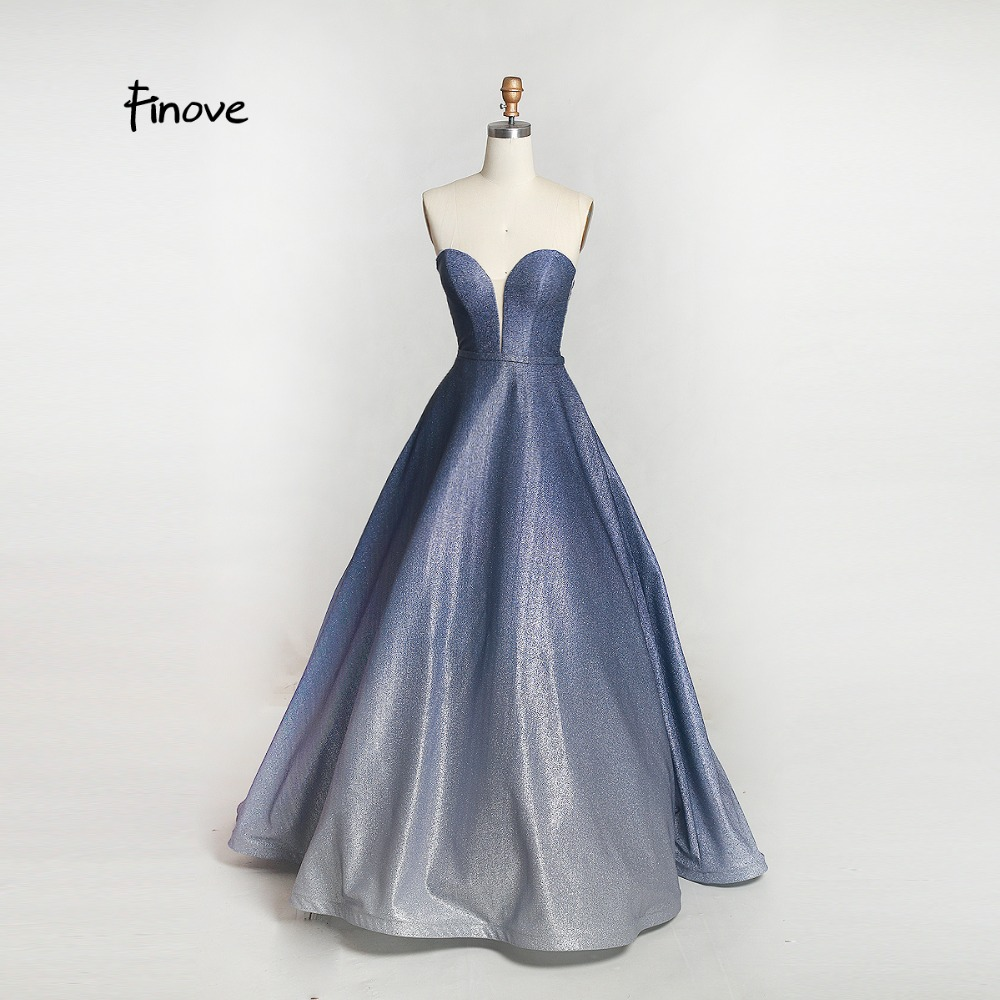 Finove Evening Dress Long 2019 New Reflective Dress Simple Strapless Sequins Party Ball Gown For Lady