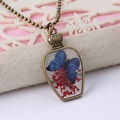 Antique butterfly flowers specimens Plated bronze glass pendant necklace Natural DIY creative jewelry long Sweater rope necklace