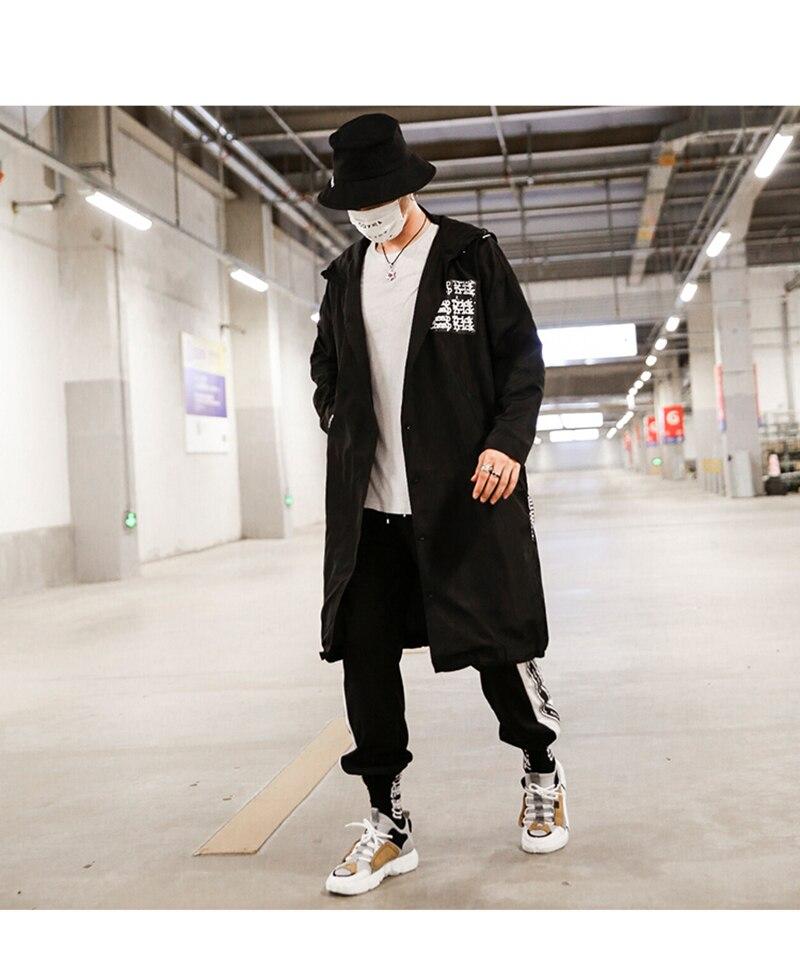 Long Men Trench Coat Casual Spring 2018 Slim Fit white Mens Hood Street South Korea Clothing (4)