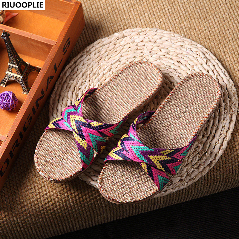 Flax Slippers Floor Shoes Cross Belt Silent Sweat Slippers Summer Women Sandals 2017 fashion flax home slippers indoor floor shoes belt silent sweat slippers for summer women sandals unisex flip flops af433