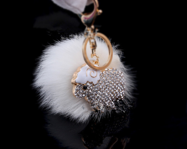 Rabbit Fur Ball Keychain Trendy Round Zinc Alloy Big Size Key Chain Ring For Car Women Bag Charms Accessories White for BMW
