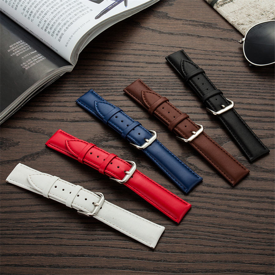 genuine Leather Watch Bands Strap Smooth Stainless Steel pin <font><b>buckle</b></font> <font><b>12mm</b></font> 13mm 15mm 18mm 19mm 20m 21mm 22mm 23mm Watchband image