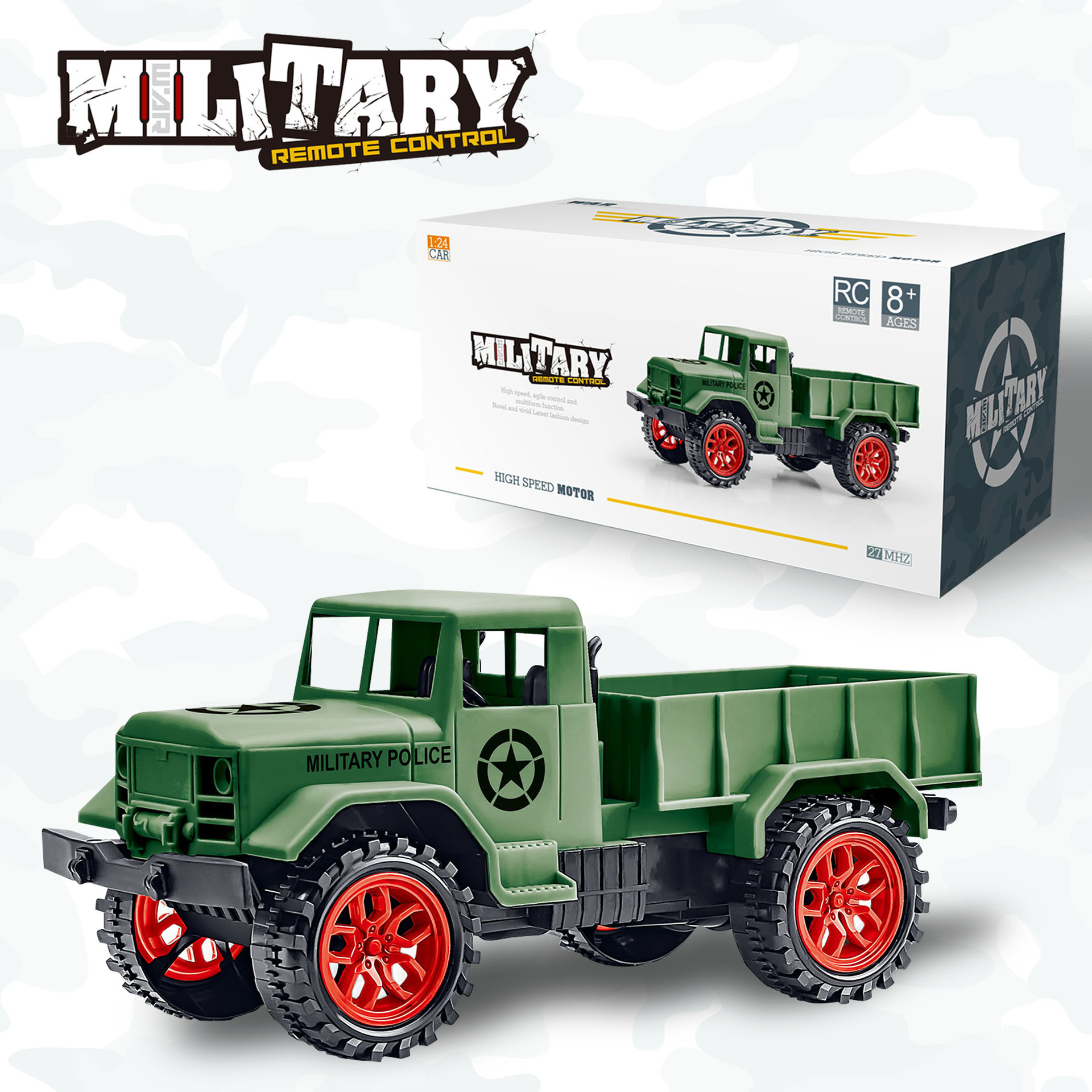 Ertong Remote Control Military Truck Four wheel Off road Military Truck Model Toys Children's Puzzle Gifts Hot selling Toys-in RC Cars from Toys & Hobbies