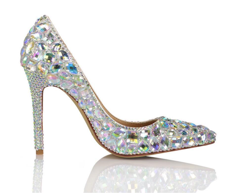 Cristal Luxe Précieuses Pierres Mariage Pierre Pointu En Chaussures Hauts Blanc Bout Pour Véritable Cuir Talons Marque De Couleurs Femmes qtwffS
