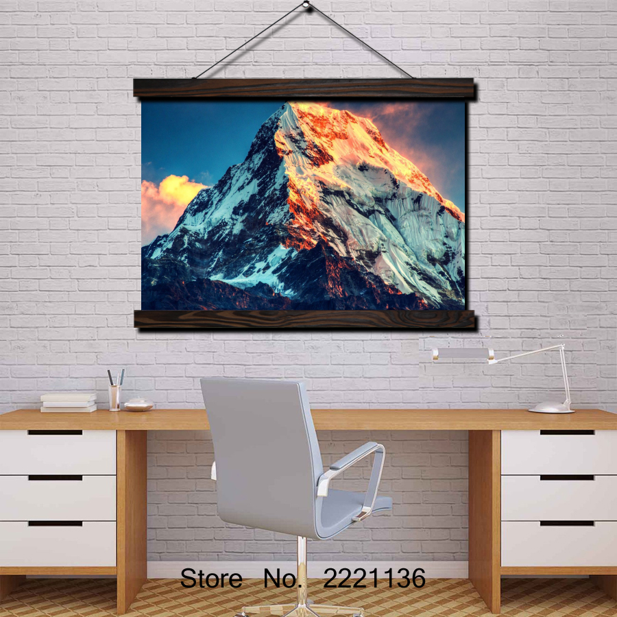 Mount Everest Sunset HD Scroll Painting Modern Home Framed Hanging Wall Decoration Artworks in High Definition Print Poster in Painting Calligraphy from Home Garden