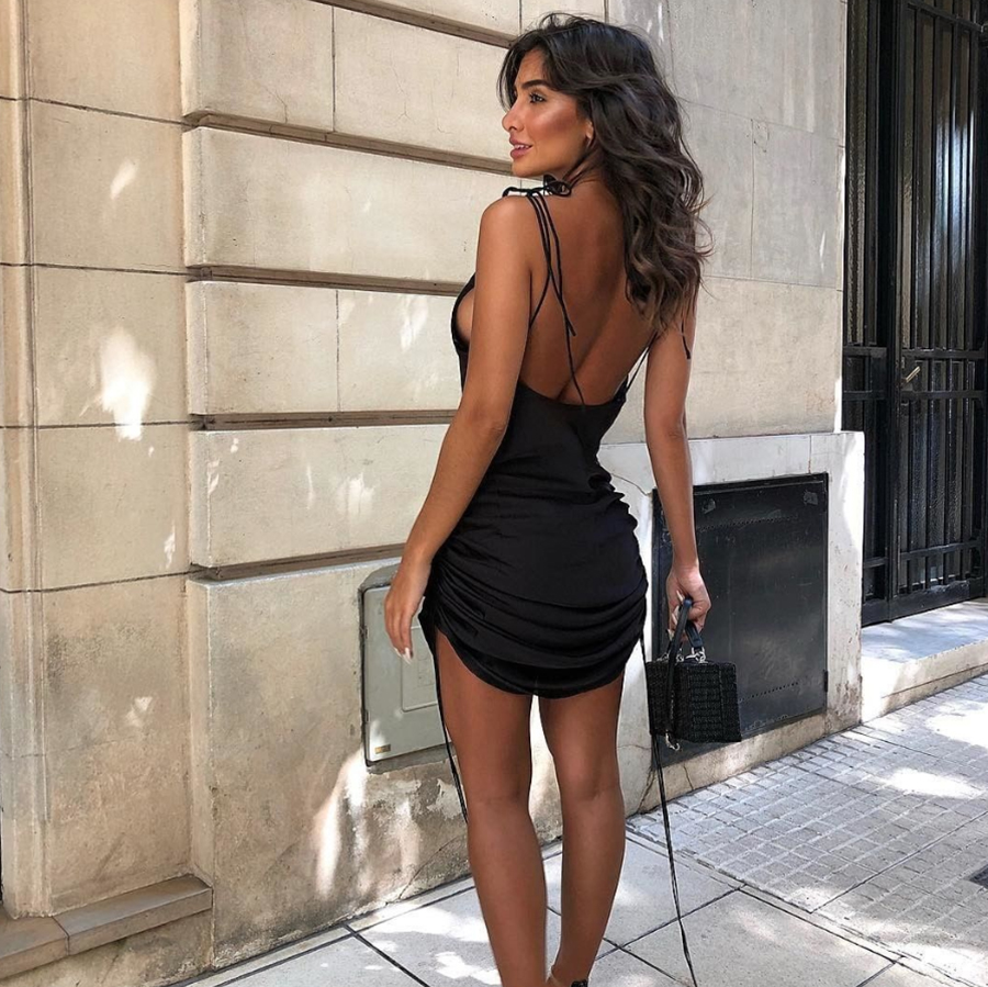 Girly Sexy Spaghetti Backless Casual Outfits Dress