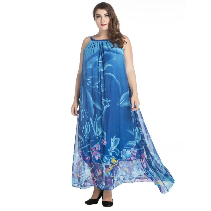 27218f3b0d0ffd Femmes Tuhao Sexy 6xl Femme Longue Cm110 Robe 5xl 7xl Bleu Bohème ...