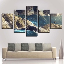 Decor For Living Room Wall Canvas Painting 5 Pieces HD Printing Mountain Cave Water Abstract Landscape Picture Modular Frame Art