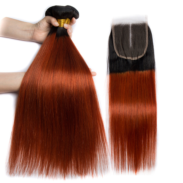 Alibele Ombre Straight Hair Bundles With Closure 1b 350 Golden