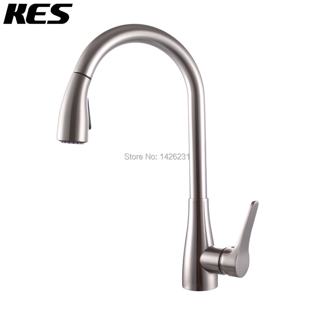 KES Brass Singel Handle Pull Down Kitchen Faucet with Retractable ...