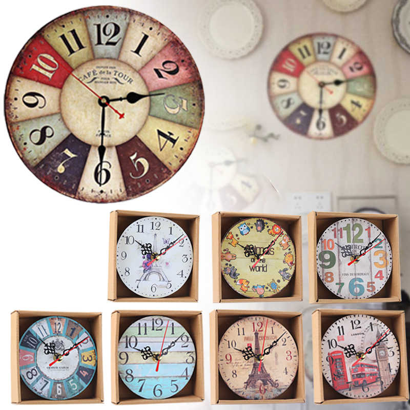 Retro Vintage Wall Clocks Quartz Clock Round Mute Home Living Room Decor