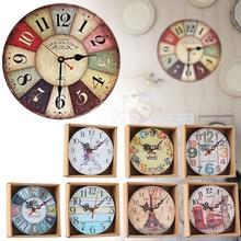 Retro Vintage Wall Clocks Quartz Clock Round Mute Home Living Room Decor
