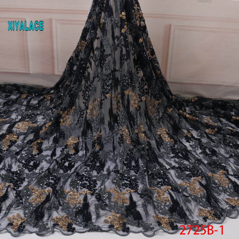 2019 Latest French Laces Fabrics High Quality Tulle Lace Wifh Beads Fabric For Wedding Nigerian Tulle Lace Material YA2725B-1