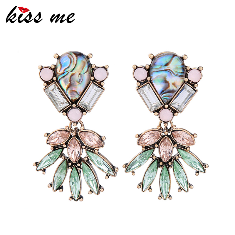 KISS ME Brand Colorful Crystal Geometric Statement Earrings Unique Alloy Hollow Drop Earrings Fashion Jewelry pair of faux gem geometric drop earrings