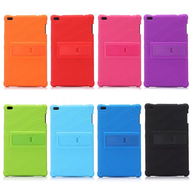 sale retailer a2384 22898 US $7.42 25% OFF|For Lenovo Tab 4 8 TB 8504X Soft Silicone Back Cover for  Lenovo TAB4 8 TB 8504F TB 8504 TB 8504N tablet case Kickstand Cover -in ...