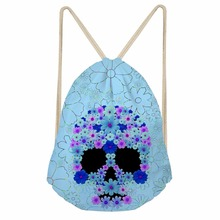 Noisydesigns Skull Flower Printing Drawstring Bag Women Backpack Children For Teenager Girl School Bagpack Cinch Mochila Escolar