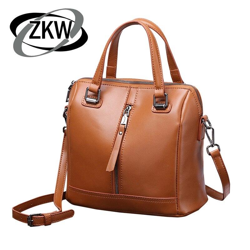 ZKW nueva moda de alta calidad bolso de cuero genuino señora hermoso hombro bolsos bandolera para mujer-in Bolsos de hombro from Maletas y bolsas    1
