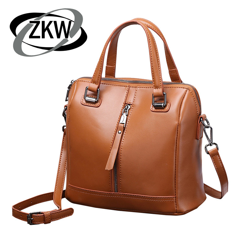 여성을위한 zkw 새로운 패션 고품질의 정품 가죽 핸드백 레이디 아름다운 어깨 가방 crossbody 가방-에서숄더 백부터 수화물 & 가방 의  그룹 1