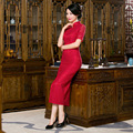 TIC-TEC chinese cheongsam long qipao lace red slim vintage oriental formal dresses women tradicional party weeding clothes P2842